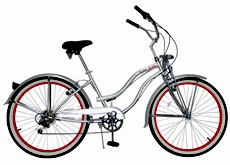 "26""shimano 6 speed beach lady cruiser bicycle"