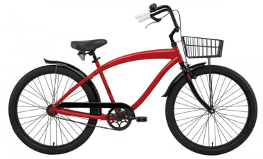 beach cruiser bicycle with fender and basket